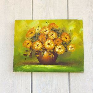 Vintage Original Signed Yellow Flower Oil Painting
